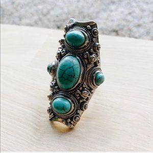 Turquoise boho ring